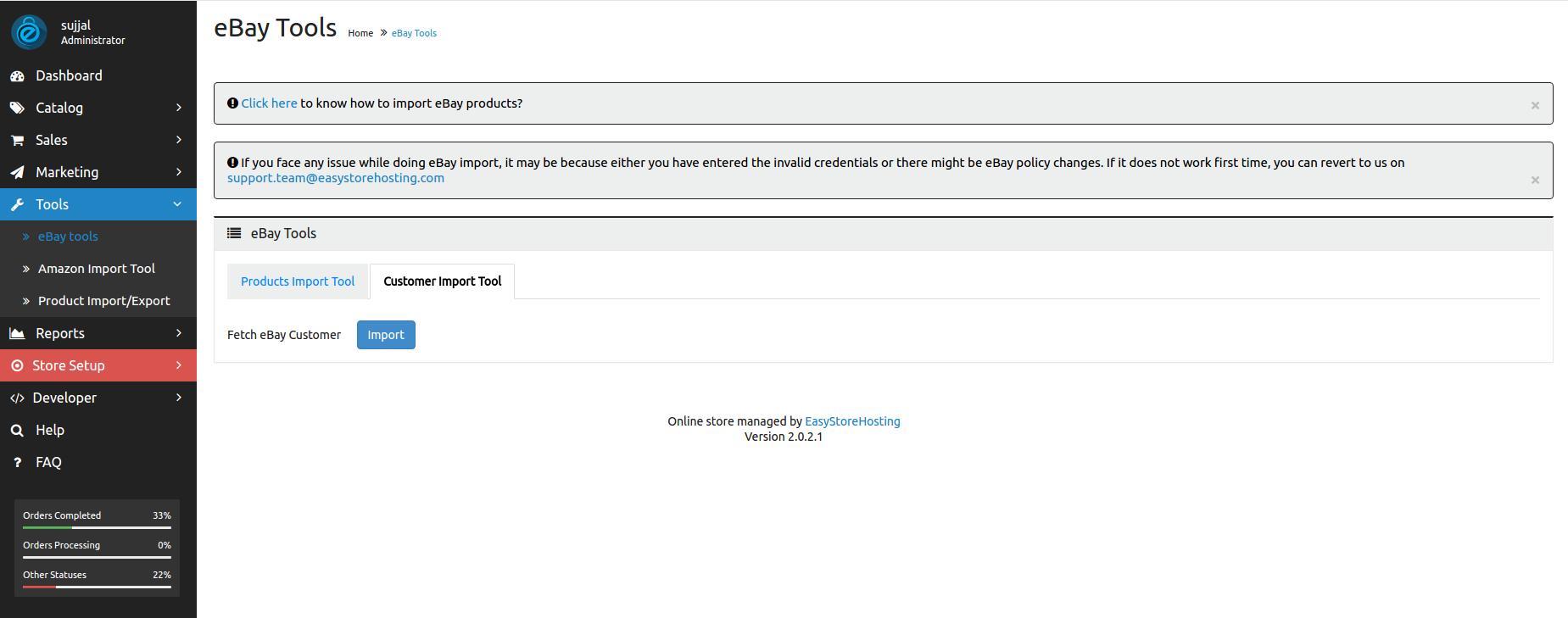 eBay customer import